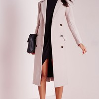 Missguided - Double Breasted Tailored Long Wool Coat Mauve