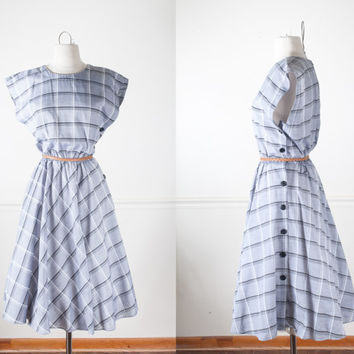 Vintage 80s Dress | Vintage Swing Dress Plaid 1950s Style Dress Pin Up Summer Dress Gray Dress Cute Retro Dress Full Skirt Fit and Flare