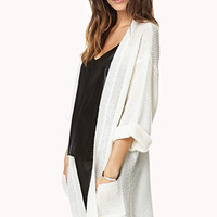 FOREVER 21 Toasty Open-Front Cardigan Cream Small
