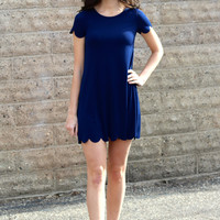 Scalloped Hem Dress, Navy