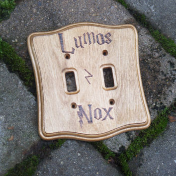 Harry Potter Lumos/Nox Double Switch Plate, Wood Burned Switch Plate, Harry Potter Spells, Harry Potter Decor