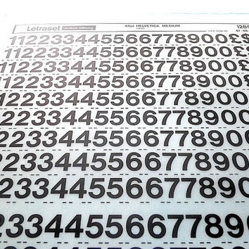 Numbers & Lettering rub down lettering by Letraset - Helvetica series (Set of 6)