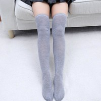 New Stylish Autumn Windproof Women Knit Over The Knee Long Stocking Solid Thigh High Stockings Socks New Stretch Clothing Wear
