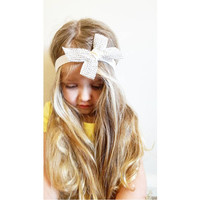 White Diamonds Bow Baby Girls Headband Flower Girl Headband Christening Headband Bow Headband Birthday Headband Wedding Headband