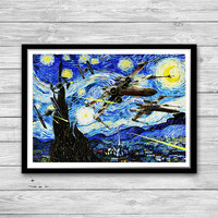 Star Wars Battleships Starry Night Print, Van Gogh, Reproduction of Vincent Van Gogh Starry Night, Starships poster, Star Wars wall art