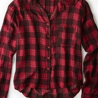 AEO Women's Don't Ask Why Cropped Button Down Shirt