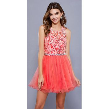 Cut Out Back Applique Bodice Sleeveless Homecoming Dress Coral