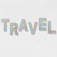 'Travel' Paper and Fabric Letters, Set of 6
