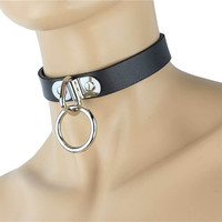 Silver O Ring Fetish Black Leather Choker Cosplay Collar