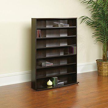 Book Case Multimedia Storage Holds 280 DVDs or 426 CDs Tower Cinnamon Cherry