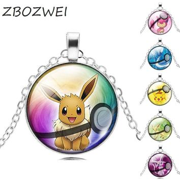 ZBOZWEI NEW Pokemon Eevee Necklace Pokeball Glass Cabochon Statement Chain Pendant Necklace Women Fine Jewelry Gift 2018