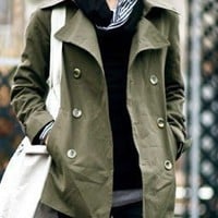 Korean Style Button Decorated Cotton Pure Color Man Jacket Army Green M/L/XL/XXL @S5216-1ag $39.23 only in eFexcity.com.