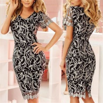 2019 Women Sexy Short Sleeve Bodycon Pencil Dresses Lace Hollow Floral Vintage Office Clothes