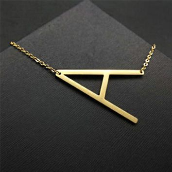 Shellhard Fashion Letter Pendants Necklaces Vintage Stainless Steel Alfabet Initial Choker Collier Necklace For Women Jewelry