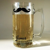 Classic Mustache Beer Mug  personalized by RumRiverOriginals