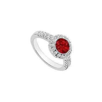 Ruby and Diamond Halo Engagement Ring : 14K White Gold - 1.25 CT TGW