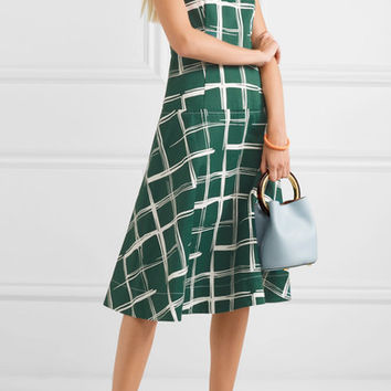 Marni - Printed cotton and flax-blend midi dress