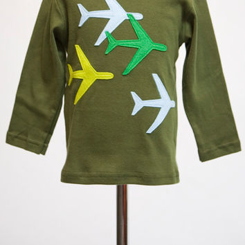 Spring Planes Felt Applique Tee or Onesuit