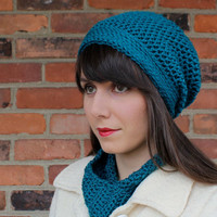 HAT - SLOUCHY Hat - Crochet Hat in Teal Blue - Beanie Hat - Slouchy Beanie - Hats for Women - Handmade Knit Hats