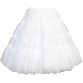 Three Layer White Tea Length Half Petticoat Girls 2T-10