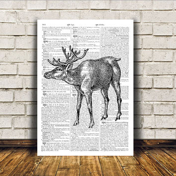 Deer art Dictionary print Stag poster Wall decor RTA317
