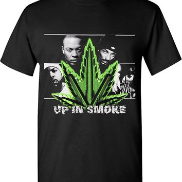 Hip Hop Legends Marijuana Weed Leaf Up In Smoke Solid Graphic T-shirts