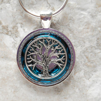 tree of life keychain: blue - mens keychain - celtic keychain - unique keychain - boyfriend gift - mens keyring - unique gift - valentine
