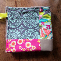 Baby Girl Lovey Blanket, Small Patchwork Minky Security Blanket