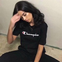 """Champion"" Unisex Loose Casual Classic Letter Logo Print Couple Short Sleeve T-shirt Top Tee"