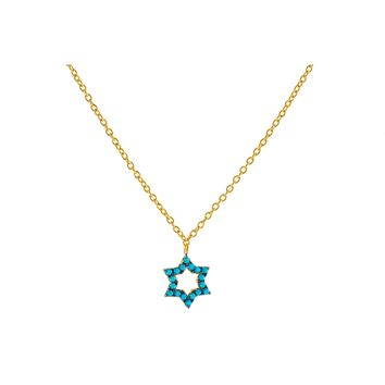 """14k Gold Plated Sterling Silver nano Turquoise CZ Star of David Pendant Necklace, 15.5"""" + 1.5"""""""