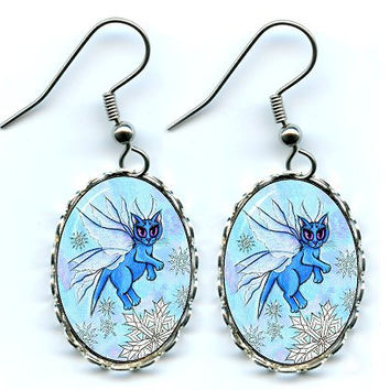 Winter Fairy Cat Earrings Snowflake Snow Blue Fairy Cat Fantasy Cat Art Cameo Earrings 25x18mm Gift for Cat Lovers Jewelry