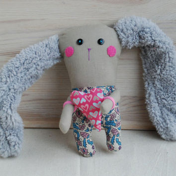 Rabbit Doll,Valentine's Day Gift,Handmade Bunny with Heart,Valentines Gift for Lovers,Soft Bunny,Handmade Animal Toys, Bunny with Plush Ears