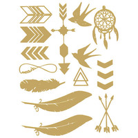 Metallic Boho Temporary Tattoos Multi One Size For Women 24913295701