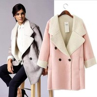 ONETOW UK Brand Suede Jacket  Warm Winter Jacket Women Slim Detachable Fur Collar Coat Ladies Parka Outwear Casual Overcoat