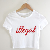 Illegal White Graphic Crop Top