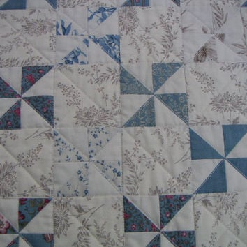 Quilted Wall Hanging, Blue and White