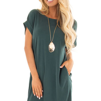Hunter Green Short Sleeve Dress with Side Pockets