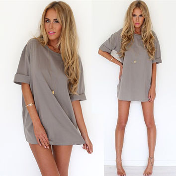 Women Loose Pure Color Beach Shift Dress