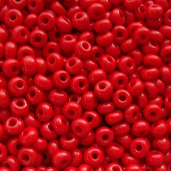 Pkg of 24 grams Opaque Blood Red Czech 6/0 large glass seed beads, size 6 Preciosa Rocaille 4mm spacer beads, big hole, C7424