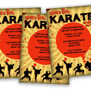 Ninja Karate Party Invitation - Boys Karate Birthday Party Invitations - Martial Arts Invitation - Ninja Birthday Invitations - Kung Fu