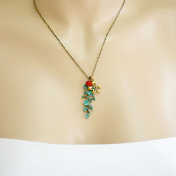 Cherry Blossom Necklace,Patina Jewelry,Mothers Day,Bridesmaid Gift,Wedding Jewelry,Tree of Life,Tree Branch Necklace,Red and Green,Nature