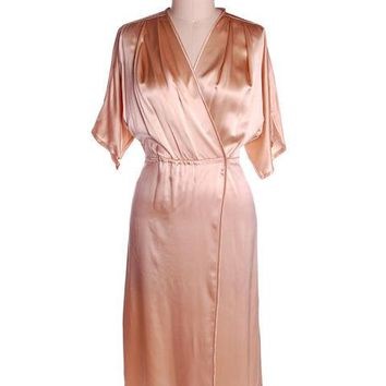 Vintage Nightgown & Short Quilted Bed Jacket Soo Yung Lee 1980s Silk Size 8