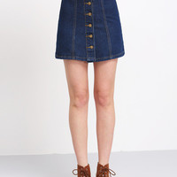 Blue Buttons A Line Denim Skirt [6240901956]
