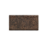 Ladies' Tri-fold Tooled Wallet - Chocolate Brown