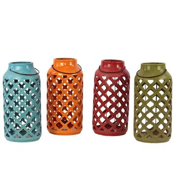40087-Ast Assortment Set Of Four Ceramic Antique Lantern With Metal Handle