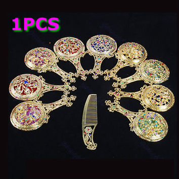 1Set of Rhinestone Retro Ladies Makeup Compact Pock Hand Held Mirror Hair Comb