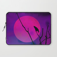 The Crow And The Pink Moon Laptop Sleeve by minx267