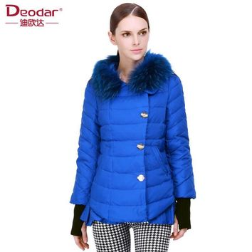 Deodar 2017 New Arrival Fashion Raccoon Fur Collar Solid Slim 90% White Duck Down Coats Knitted Sleeve Vintage Basic Jacket