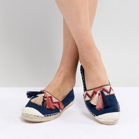 New Look Tassel Embroidered Flat Espadrille at asos.com