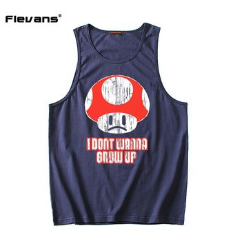 Flevans Brand Men's Tank Tops Fashion Cotton Man Sleeveless Undershirts For Male Super Mario Toad Tank Tops Casual Summer Vest